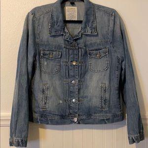 J CREW Distressed Denim Jean Jacket XL